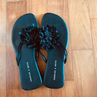 🚚 Charles & Keith Slippers with Black Flowers
