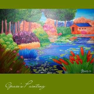 Canvas Painting: By the River