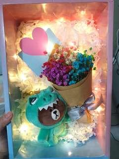 LED Dino Line Bear Baby Breaths Bouquet Set #EndGameyourExcess