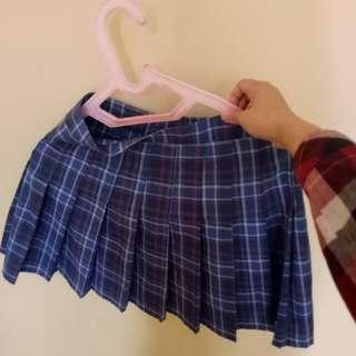 Rok tartan plaid blue skirt