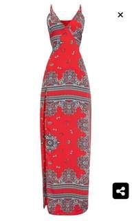 Pretty little thing Red satin Maxi dress (size 10)