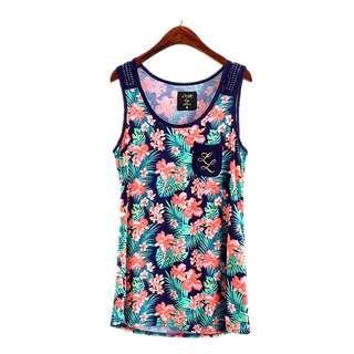 2折❤全新美國Lounge by max彩色夏威夷碎花熨石無袖背心長Tee❤ Women Floral T-shirt Vest not Chanel YSL F21 Zara ASOS H&M 韓國