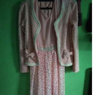Dress pink dengan outer