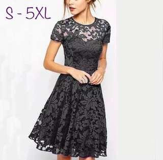 加大碼女裝 蕾絲連身裙 Women Fashion Elegant Sweet Hallow Out Lace Dress Plus Size One Piece 3 Color 黑白藍