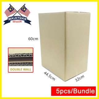 (445mmx320mmx600mm, Set of 5) Big Cardboard Shipping Box for Packing/ Double Wall Carton Box/ Kotak