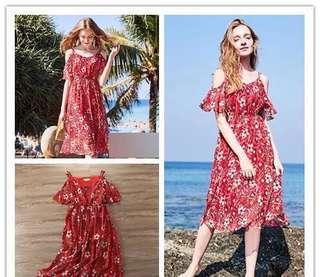 超級美 歐美風 夏季連衣裙 露肩