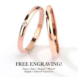 bbb0584e97 SCPR-301 • ROSEY Rose Gold Diamond Wedding Love Band Rings• FREE ENGRAVING  ENGLISH