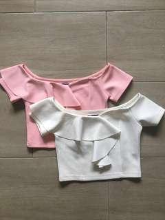 NEW Kitschen Pink / White Off Shoulder Crop Top