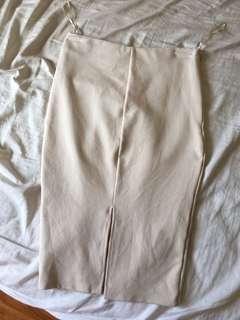 Beige mid length skirt