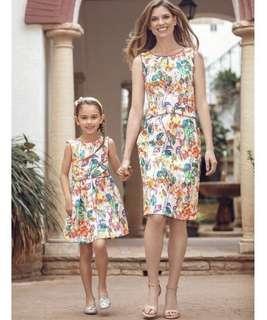 母女親子裝 Mother-Daughter Floral White Dress 碎花背心連身裙 3-8T