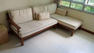 Teak L shaped sofa with additional set of new cushion covers