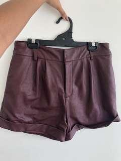 Maroon Leather shorts