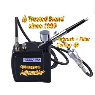 VOGUE AIR portable airbrushing set HS08 MINI AIR COMPRESSOR (piston type) combo with airbrush pen complete with air filter