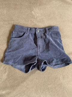 Blue Corduroy Mini Shorts
