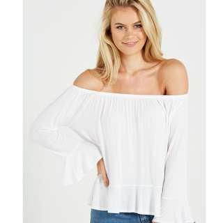Cotton On White Off SHoulder Long Sleeve Top #SnapEndGame