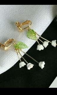 日系森林系鈴蘭花長鏈流蘇花朵耳夾式耳環