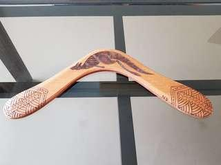 Handmade wooden boomerang