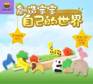 🔥趣味动物跷跷板积木| Wooden animal sea-saws building blocks (现货 | Ready Stock)
