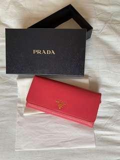 90% New Prada 真皮長銀包 桃紅色 有盒 有單 PORTAGFOLIO PATTINA WALLET Peonia Pink