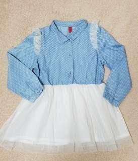 Light blue poker dots one piece tutu dress