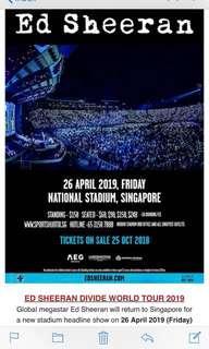 🚚 Ed Sheeran 26 April CAT 3 Standing tickets 1 pair