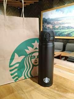 Starbucks Tumbler Stainless Steel Black Thermos Syren Logo