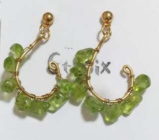 手作耳飾--橄欖石黃銅線編耳環