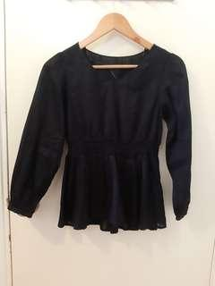 GU navy blue bell shape v neck top