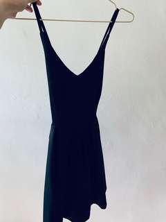 Cross back black dress