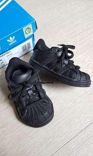Authentic Adidas superstar all black baby shoes
