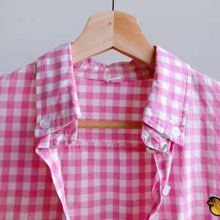 🚚 【斷捨離-8成新】粉色格子刺繡小鴨可愛襯衫