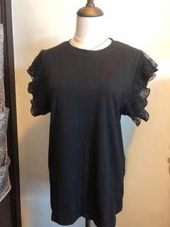 黑色lace袖T