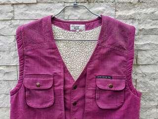 🚚 古著鋪棉獵裝背心(紫)