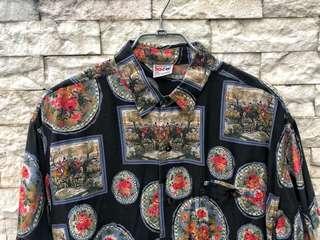 🚚 復古印花短袖襯衫
