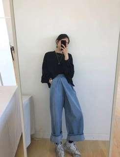 🚚 韓國 5K 正韓 設計感 高腰 牛仔寬褲