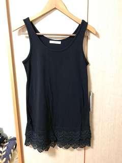 全新 正韓貨 棉質布蕾絲背心 黑色