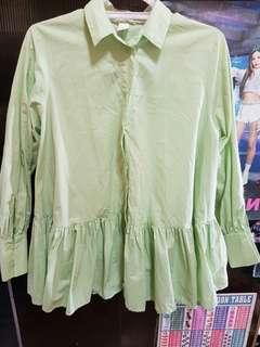 H&M Long Sleeve Peplum Blouse in Apple Green SUPERSALE💕