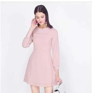 🚚 Fayth Lola Puff Sleeve Skater Dress (Mauve, Size M)