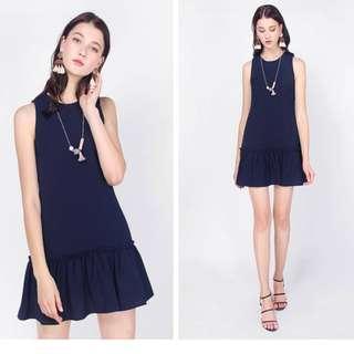 🚚 Fayth Jamie Dropwaist Dress (Navy, Size M)