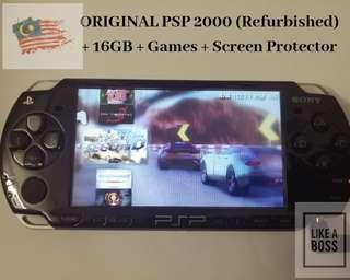 ORGINAL PSP 2000 16GB GAMES FREE PROTECTOR REFURBISHED