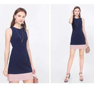 🚚 Fayth Drea Colourblock Sheath Dress (Navy/Mauve, Size M)