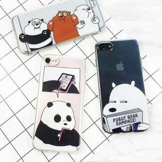 #011 we bare bears transparent phone case