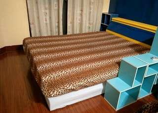 二手九成新豹紋圖案刷毛5*6標準尺寸床包展示用品冬天的床包/清倉