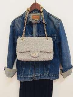 🚚 歐美小香風毛呢 2用包 Chanel 風  牛仔外套 🧥 肩背 斜背包