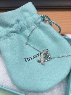 🚚 Tiffany & Co , 18k Paloma Picasso Loving Heart Diamond Pendant Necklace