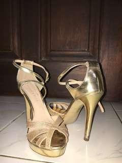 Gold Glitter Charles and Keith 10 cm Heels