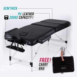 Premium Aluminium PU Leather 6 cm 3 Section Portable Massage Table Spa Bed