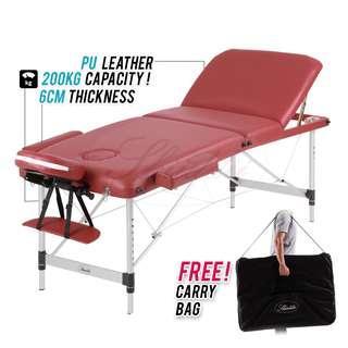 Premium Aluminium PU Leather 6 Cm 3 Section Portable Massage Table Spa Bed 200kg