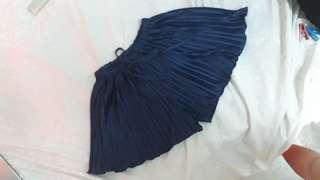 Pleated Navy Blue Satin Silk Shorts