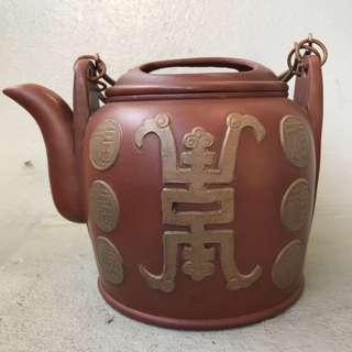 🚚 [降價中]早期 紫砂大提樑壺 14孔 福壽雙全 楊彭年款式